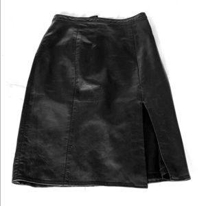 Vintage leather pencil skirt with slit